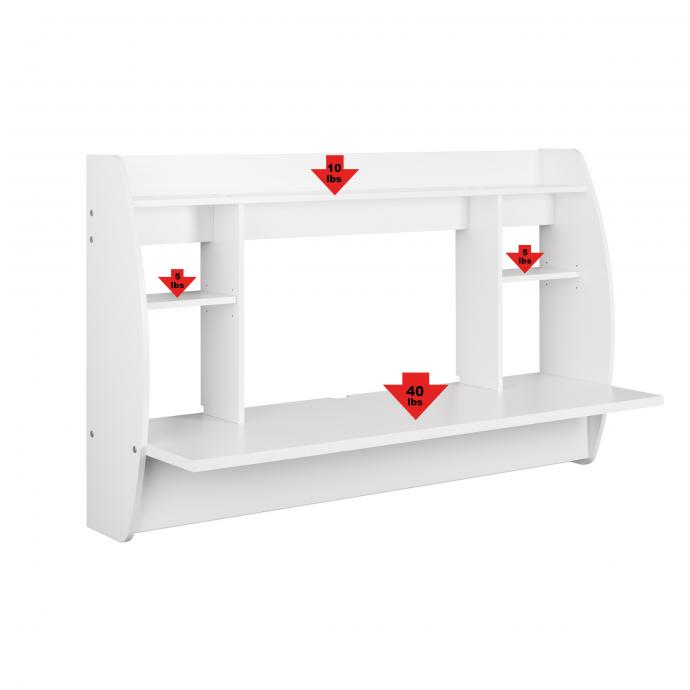 White Wide Floating Desk with weight capacity