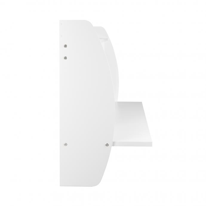 White Wide Floating Desk side view