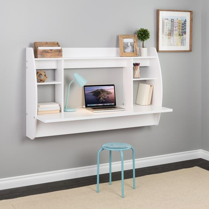 White Wide Floating Desk