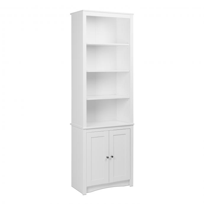 Prepac Tall Bookcase with 2 Shaker Doors