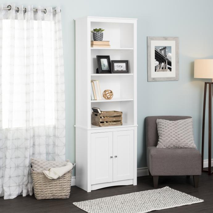 Tall Bookcase with 2 Shaker Doors