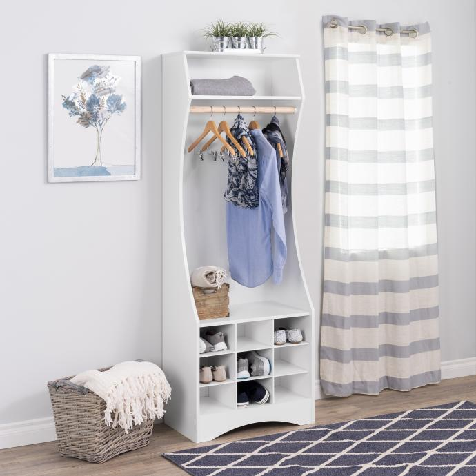 Prepac White Compact Wardrobe with Shoe Storage