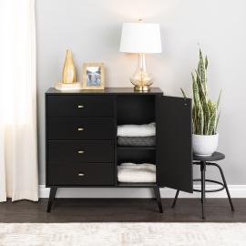 Milo 4-drawer Chest with Door, Black