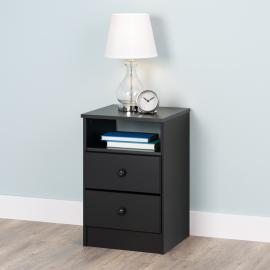 Astrid 2-Drawer Nightstand, Black