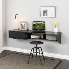 Black Modern Floating Desk with Drawer