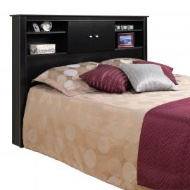 Black Full/Queen Kallisto Bookcase Headboard with Doors