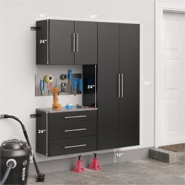 "Black HangUps 60"" Storage Cabinet Set B - 3pc with dimensions"