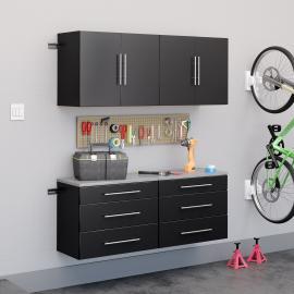 "Black HangUps 60"" Storage Cabinet Set F - 4pc"