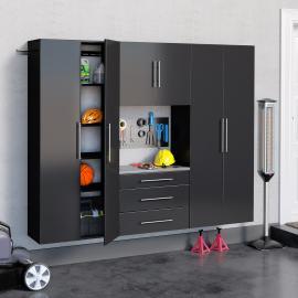 """Black HangUps 90"""" Storage Cabinet Set G - 4pc"""
