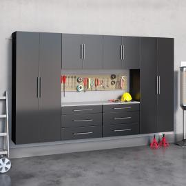 "Black HangUps 120"" Storage Cabinet Set I - 6pc"