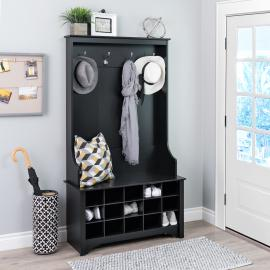 Wide Hall Tree with Shoe Storage, Black