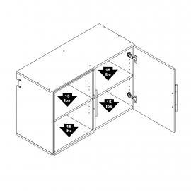 "Black HangUps 36"" Upper Storage Cabinet weight capacity"