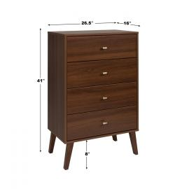 Milo 4-drawer Chest, Cherry - dimensions