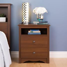 Cherry 2-drawer Nightstand with Open Shelf