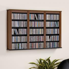Triple Wide Wall Mounted Media Storage