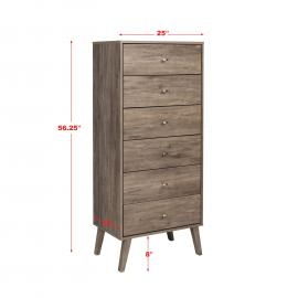 dimensions for Tall 6-drawer Chest, mid century modern style