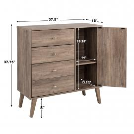Milo 4-drawer Chest with Door, Drifted Gray with Dimensions