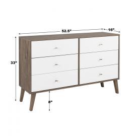 Milo 6-drawer Dresser, Drifted Gray & White, dimensions