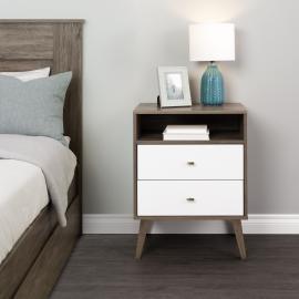 Milo 2-drawer Tall Nightstand with Shelf