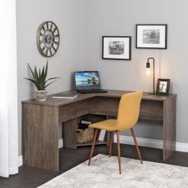 Drifted Gray L-shaped Desk in Corner