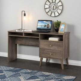 Milo Desk with Side Storage & 2 Drawers, Drifted Gray