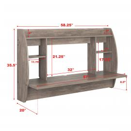 Drifted Gray Wide Floating Desk with dimensions