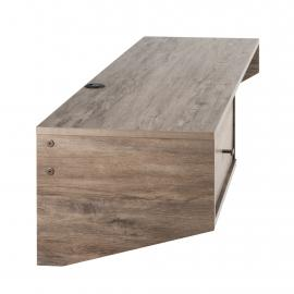 Drifted Gray Modern Floating Desk with Drawer left side
