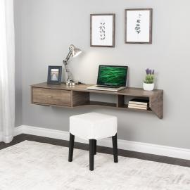 Drifted Gray Modern Floating Desk with Drawer
