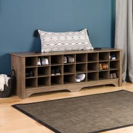 60 Inch Shoe Cubby Bench, Drifted Gray