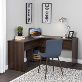 Espresso L-shaped Desk in Corner