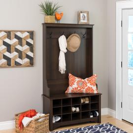 Wide Hall Tree with Shoe Storage, Espresso