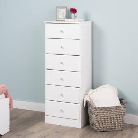 Astrid 6-Drawer Tall Chest with Crystal Knobs, White