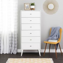 Tall 6-drawer Chest, White
