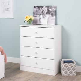 Astrid 4-Drawer Dresser with Crystal Knobs, White