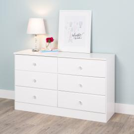 Astrid 6-Drawer Dresser with Crystal Knobs, White