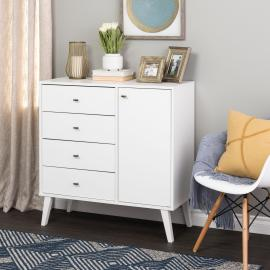 Milo 4-drawer Chest with Door - White