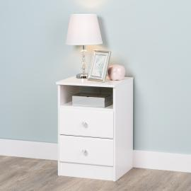 Astrid 2-Drawer Nightstand with Crystal Knobs, White