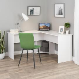 White L-shaped Desk in Corner