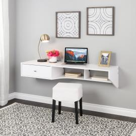 White Modern Floating Desk with Drawer