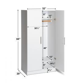 White Elite Wardrobe Cabinet dimensions