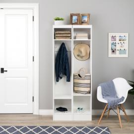 Narrow Entryway Locker, White, Set of 2