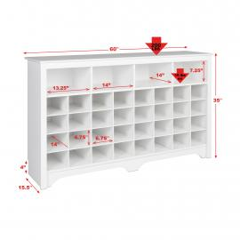 "60"" Shoe Cubby Console, White with dimensions"