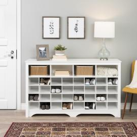 "60"" Shoe Cubby Console, White"